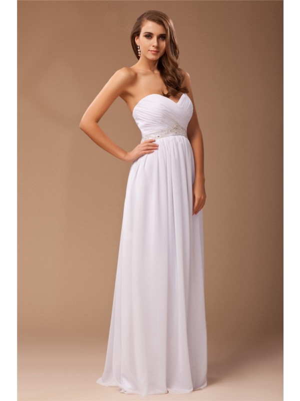 Hot Sale Sheath Sweetheart Long Sleeveless Chiffon Dress
