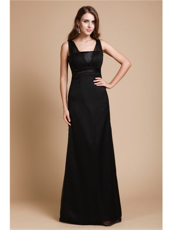 Modest Sheath Belt Sleeveless Long Chiffon Dress
