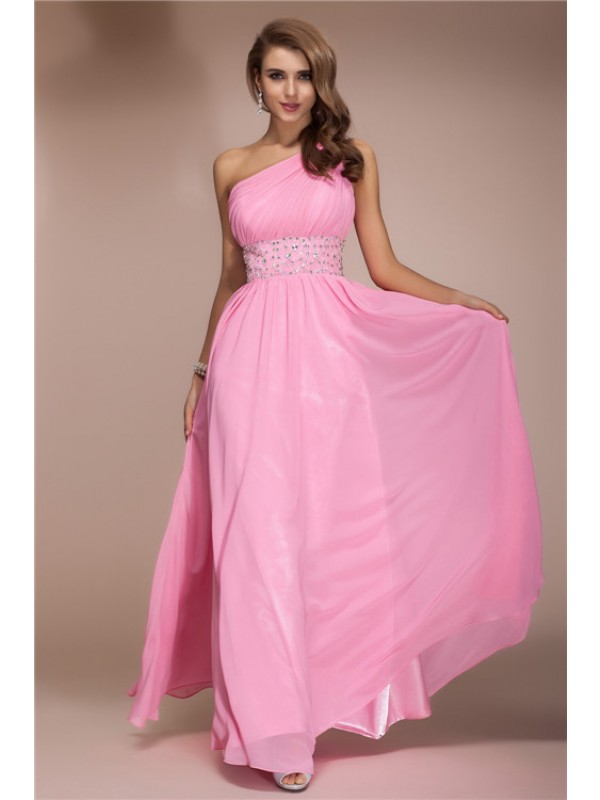 Hot Sale Sheath One Shoulder Long Sleeveless Chiffon Dress