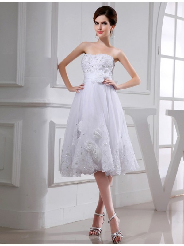 Modest A-Line Sleeveless Short Organza Taffeta Wedding Dress