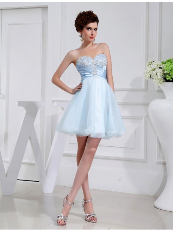 Gorgeous A-Line Sweetheart Sleeveless Elastic Woven Satin Organza Bridesmaid Dress