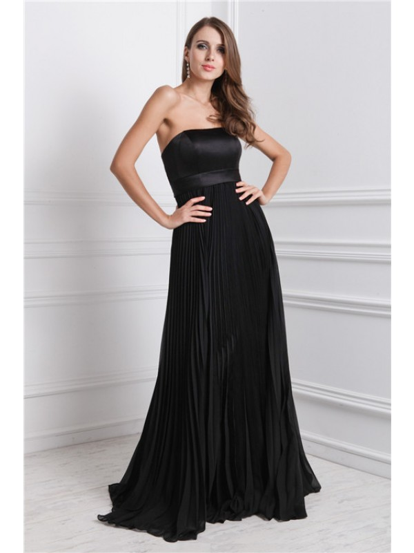 Gorgeous A-Line Strapless Sleeveless Long Chiffon Bridesmaid Dress