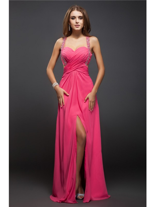 Hot Sale Sheath Straps Sleeveless Long Chiffon Dress