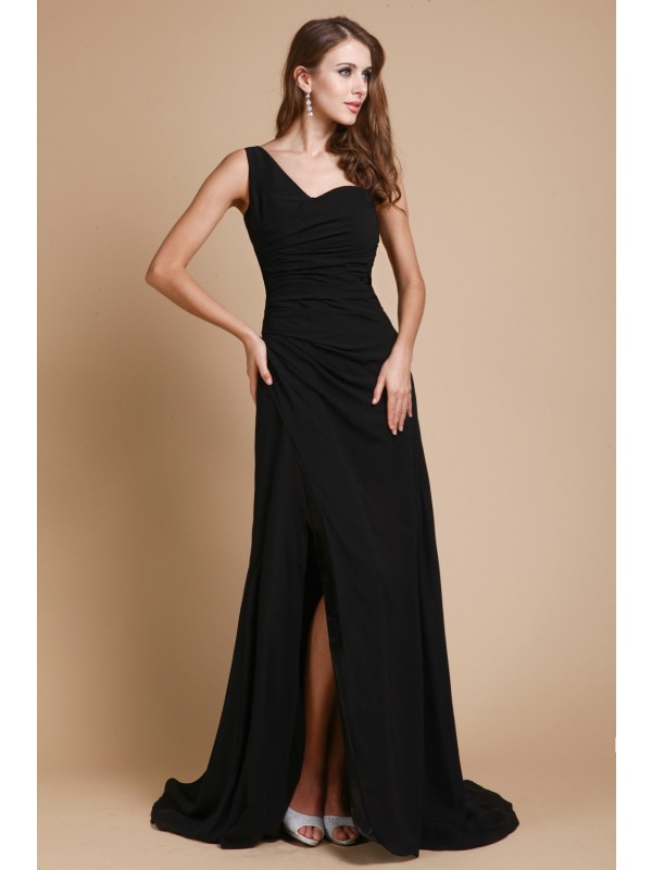 Modest A-Line One-Shoulder Sleeveless Long Chiffon Dress