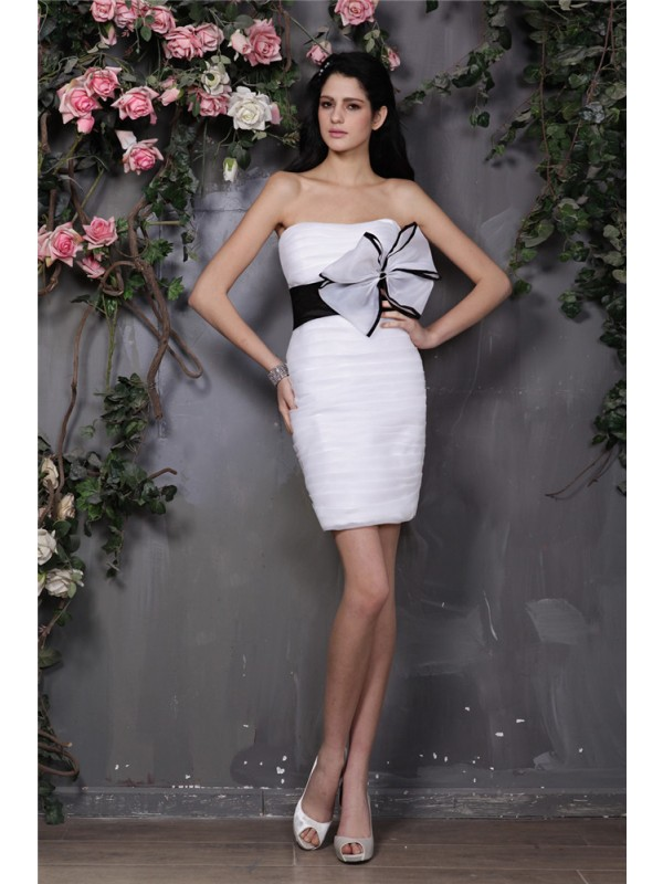 Hot Sale Sheath Strapless Sleeveless Short Organza Cocktail Dress