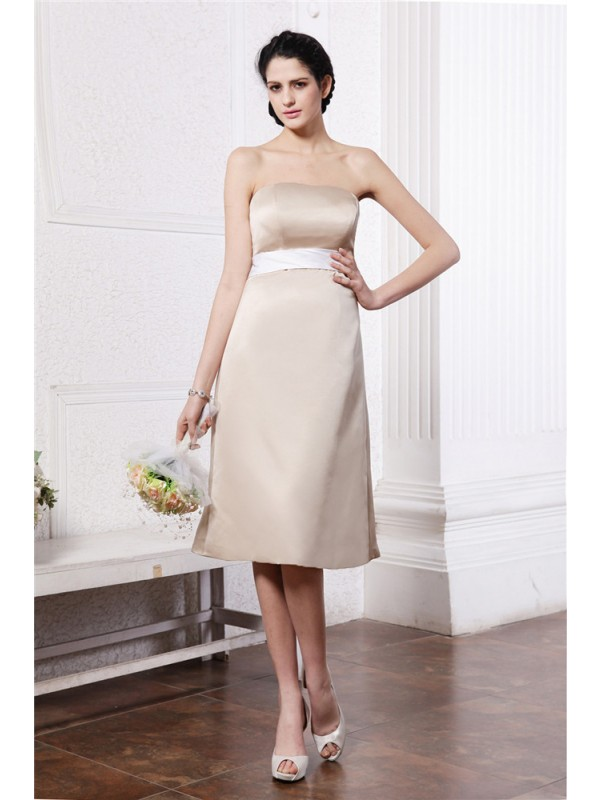Gorgeous A-Line Strapless Sleeveless Sash Short Satin Bridesmaid Dress