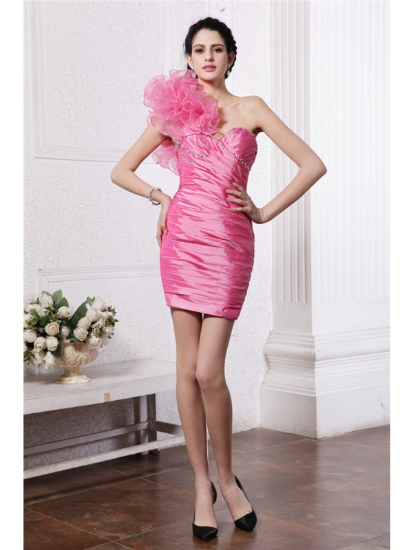 Hot Sale Sheath One-Shoulder Sleeveless Short Taffeta Cocktail Dress