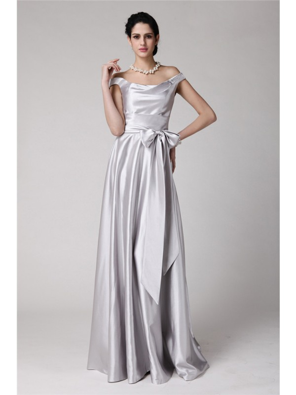 Hot Sale Sheath Off-the-Shoulder Sleeveless Sash Long Elastic Woven Satin Dress