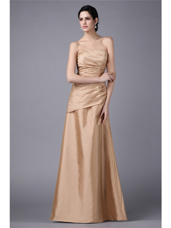 Hot Sale Sheath Strapless Sleeveless Long Taffeta Dress