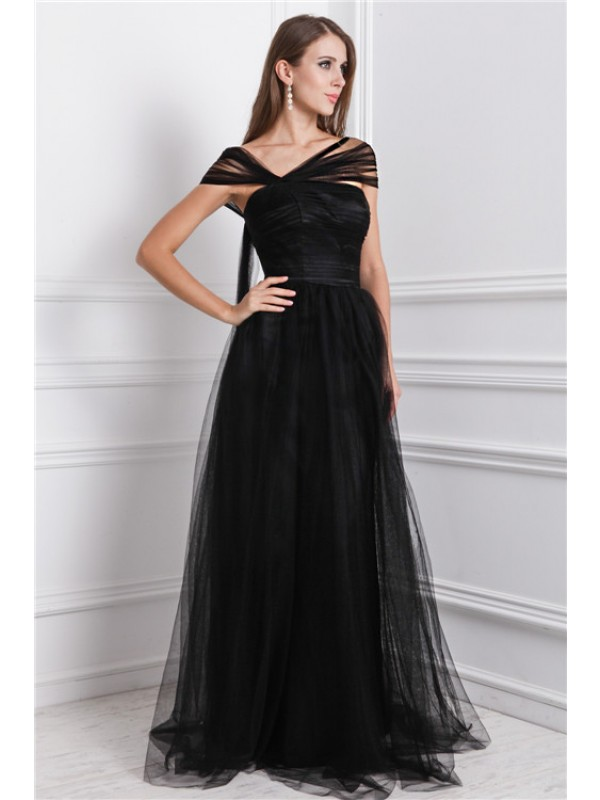 Modest A-Line Bateau Sleeveless Long Net Dress