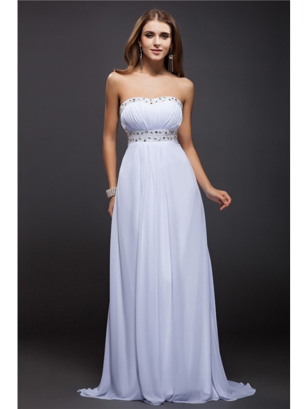 Modest Sheath Strapless Sleeveless Long Chiffon Dress