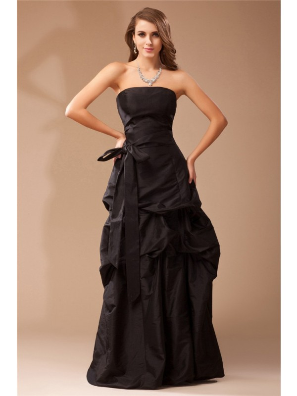 Modest A-Line Strapless Sleeveless Long Taffeta Dress