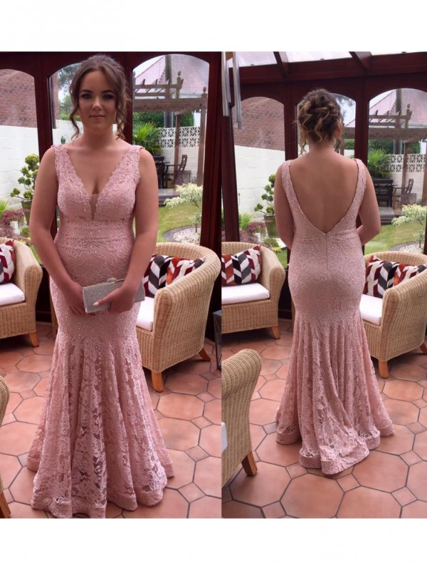 Classical Mermaid V-neck Sleeveless Floor-Length Lace Plus Size Dress