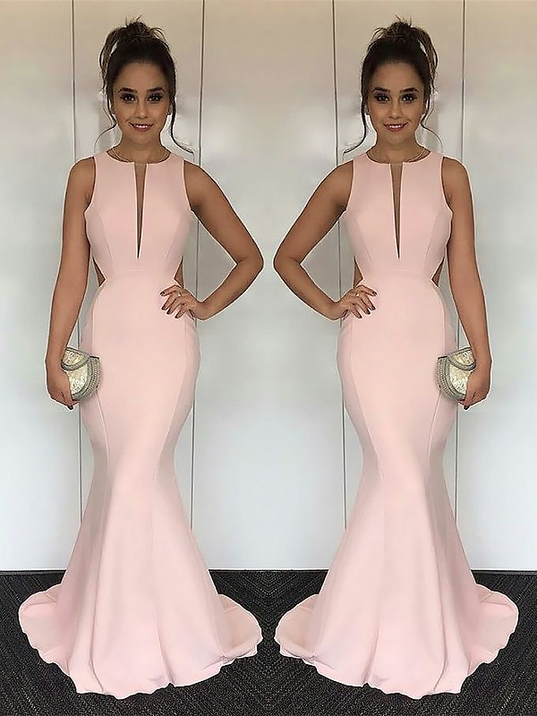 Gorgeous Mermaid Jewel Sleeveless Sweep/Brush Train Satin Dress