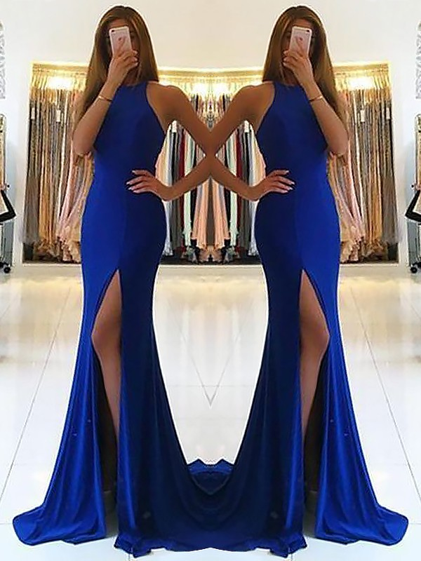 Gorgeous Sheath Halter Sleeveless Sweep/Brush Train Jersey Dress