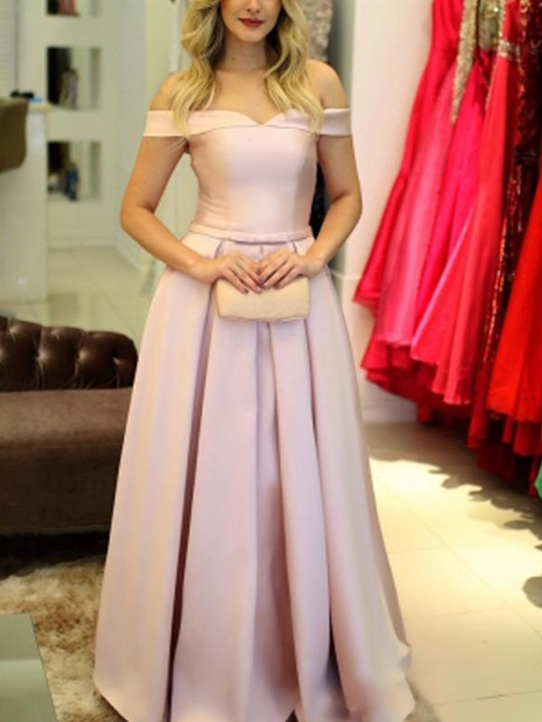 Unique A-Line Off-the-Shoulder Sleeveless Floor-Length Satin Dress