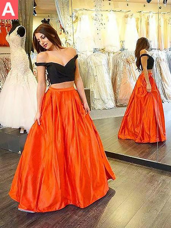 Stylish A-Line Off-the-Shoulder Sleeveless Taffeta Floor-Length Two Piece Dress