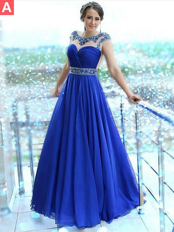 Fashion A-Line Bateau Sleeveless Floor-Length Chiffon Dress