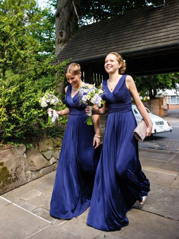 Cheap A-Line V-neck Chiffon Floor-Length Bridesmaid Dress
