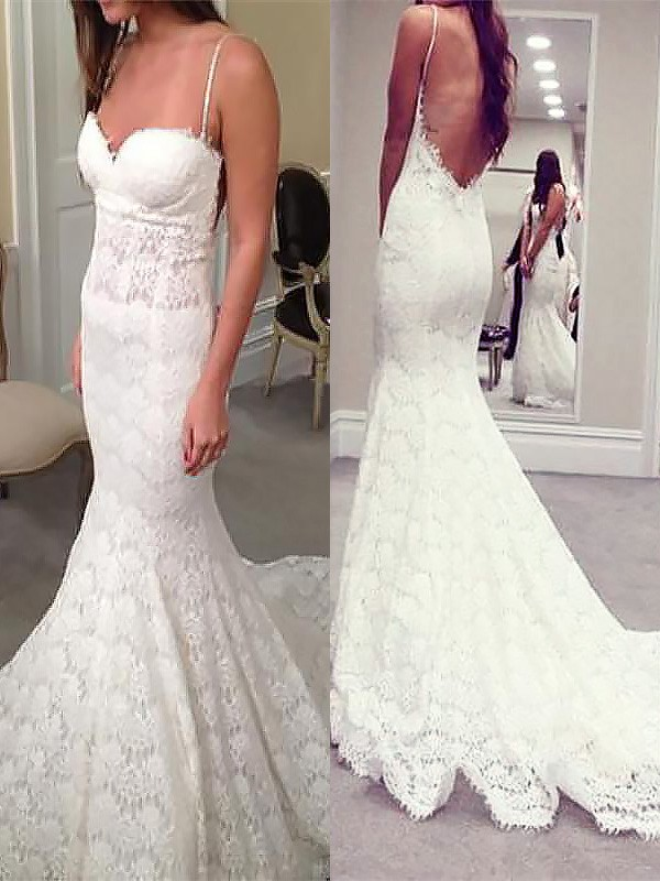 Exquisite Mermaid Spaghetti Straps Court Train Lace Sleeveless Wedding Dress
