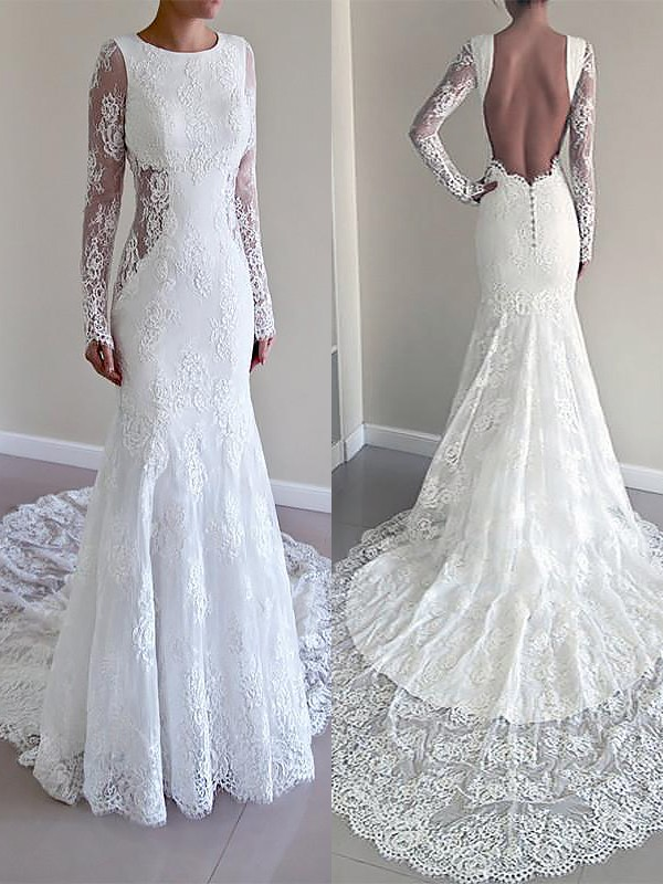 Exquisite Mermaid Scoop Long Sleeves Court Train Lace Wedding Dress