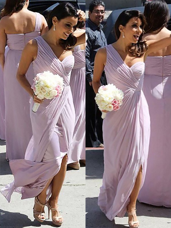 Exquisite A-Line One-Shoulder Chiffon Sleeveless Floor-Length Bridesmaid Dress