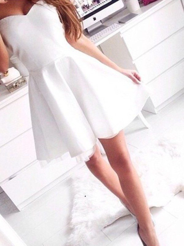 Discount A-Line Sleeveless Sweetheart Short/Mini Satin Dress