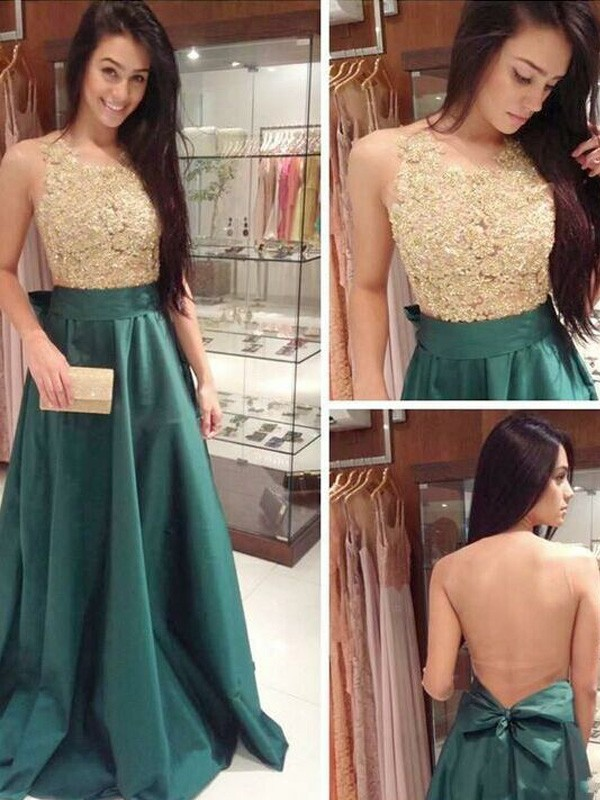 Stunning A-Line Scoop Sleeveless Floor-Length Satin Dress