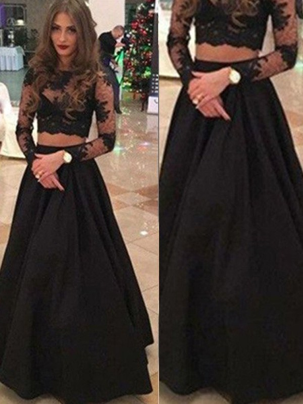 Stunning A-Line Long Sleeves Scoop Floor-Length Lace Dress