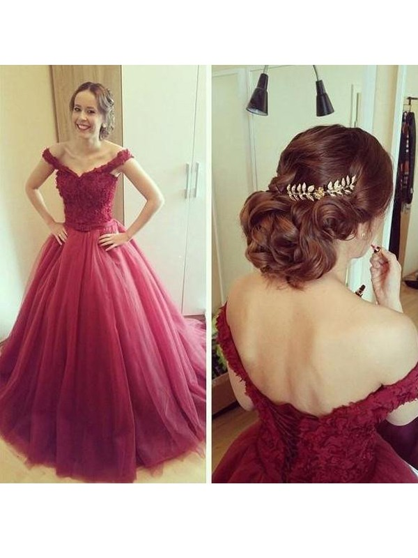 Stunning Ball Gown Off-the-Shoulder Sleeveless Court Train Tulle Dress