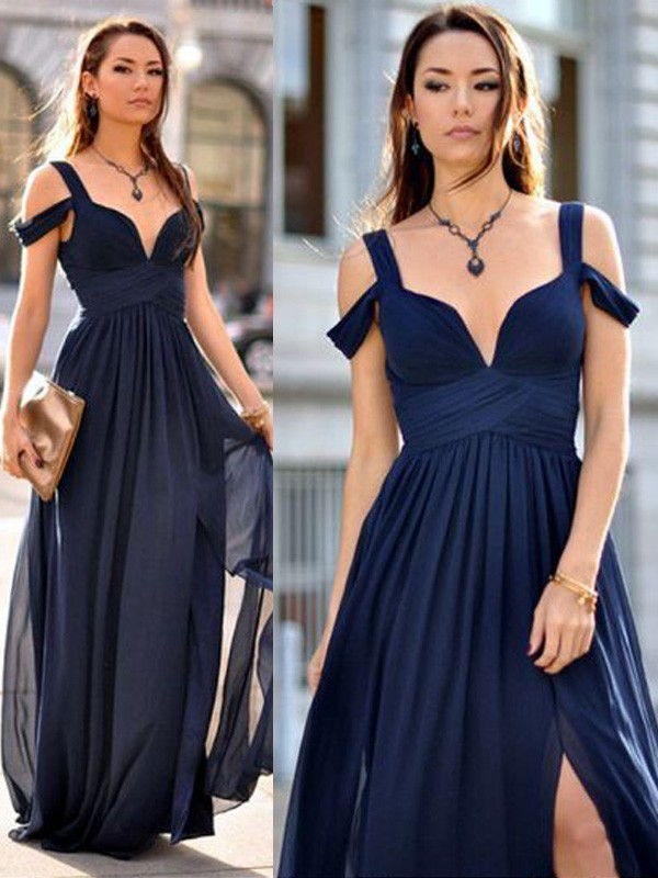 Cheap A-Line Sleeveless Straps Floor-Length Chiffon Bridesmaid Dress