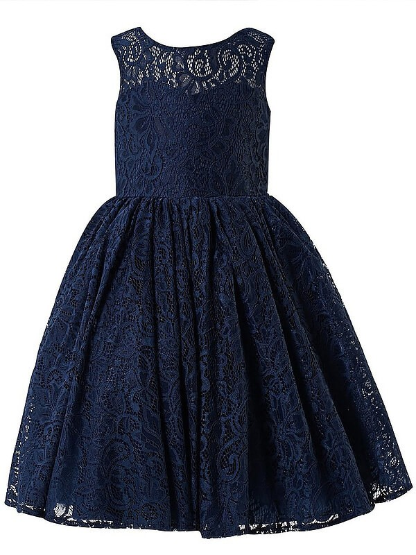 Chic A-Line Scoop Sleeveless Lace Floor-Length Flower Girl Dress