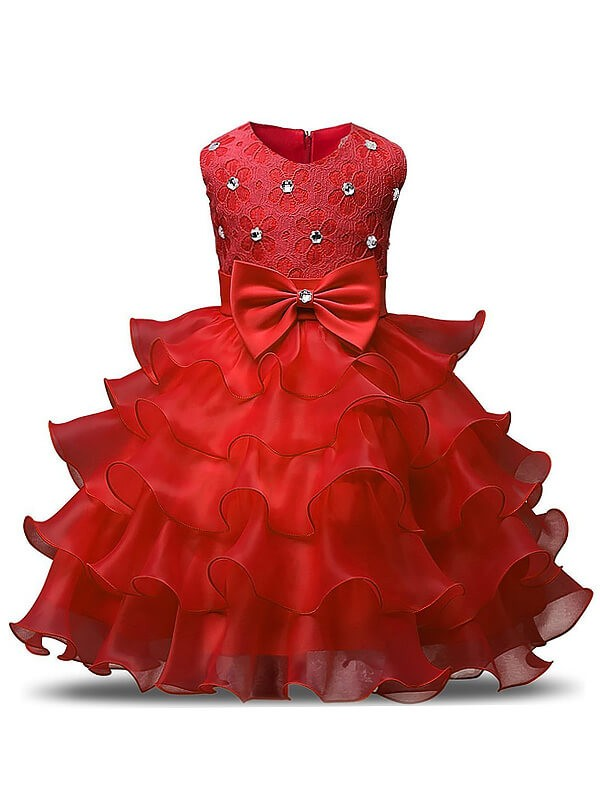 Chic Ball Gown Sleeveless Scoop Floor-Length Organza Flower Girl Dress