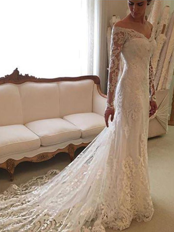 Fashion Sheath Long Sleeves Lace Off-the-Shoulder Court Train Wedding Dress