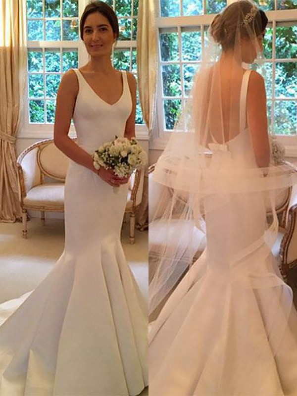 Exquisite Mermaid V-neck Satin Sleeveless Sweep/Brush Train Wedding Dress