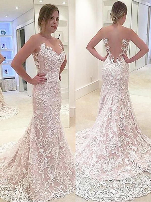 Exquisite Mermaid Lace Sleeveless Sweetheart Sweep/Brush Train Wedding Dress