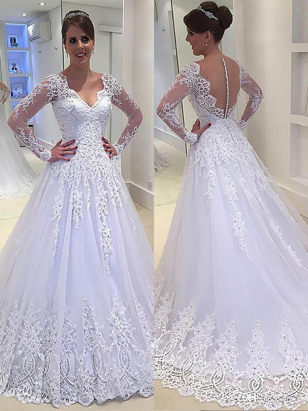 Exquisite A-Line V-neck Court Train Tulle Long Sleeves Wedding Dress