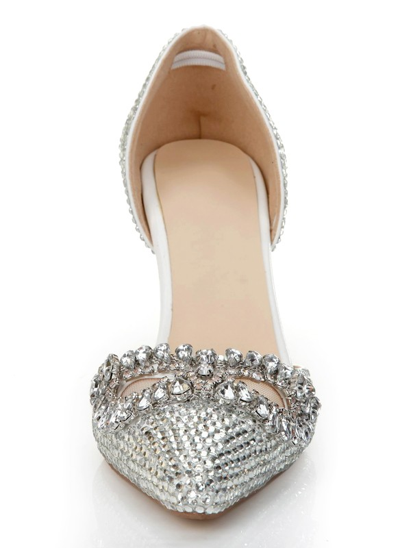 Exquisite Women Stiletto Heel Patent Leather Closed Toe Silver Wedding Shoes