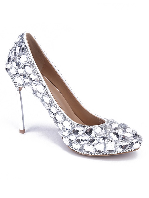 Classical Women Patent Leather Closed Toe Stiletto Heel Silver Wedding Shoes