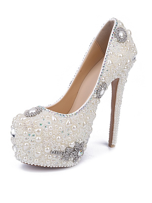 Classical Women Stiletto Heel Patent Leather Closed Toe Pearl White Shoes