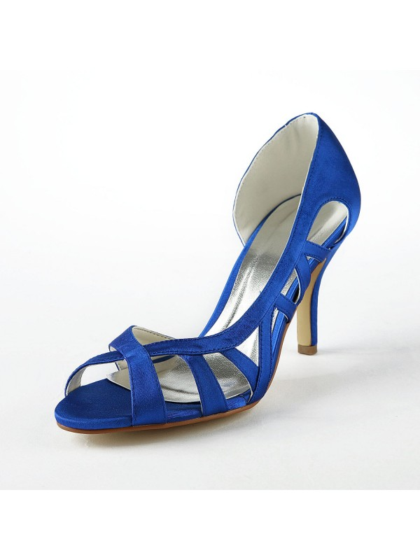 Hot Sale Women Satin Upper Stiletto Heel High Heels Sandals Shoes