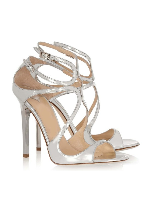 Hot Sale Women Patent Leather Peep Toe Stiletto Heel Buckle Sandals Shoes