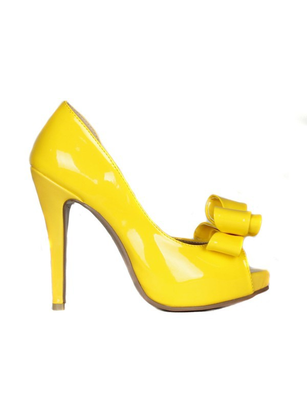 Fashion Women Patent Leather Stiletto Heel Peep Toe Platform High Heels