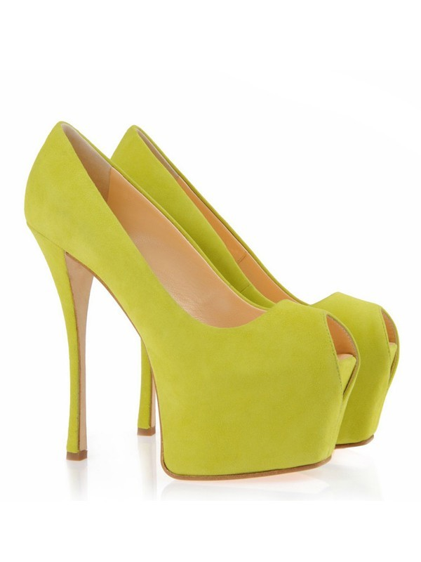 Fashion Women Suede Peep Toe Stiletto Heel Platform Platforms Shoes