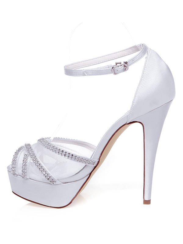 Beautiful Women Satin Peep Toe Stiletto Heel Wedding Shoes