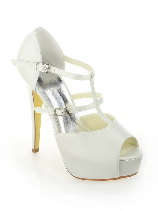 Classical Women Satin Platform Peep Toe Stiletto Heel Buckle White Wedding Shoes
