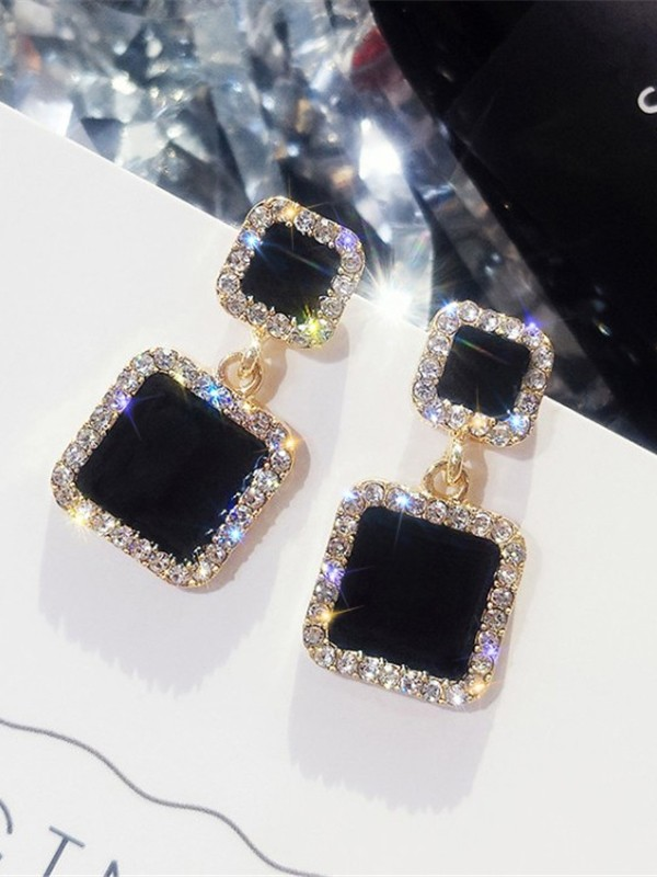 New Hot Sale Square Rhinestone Earrings