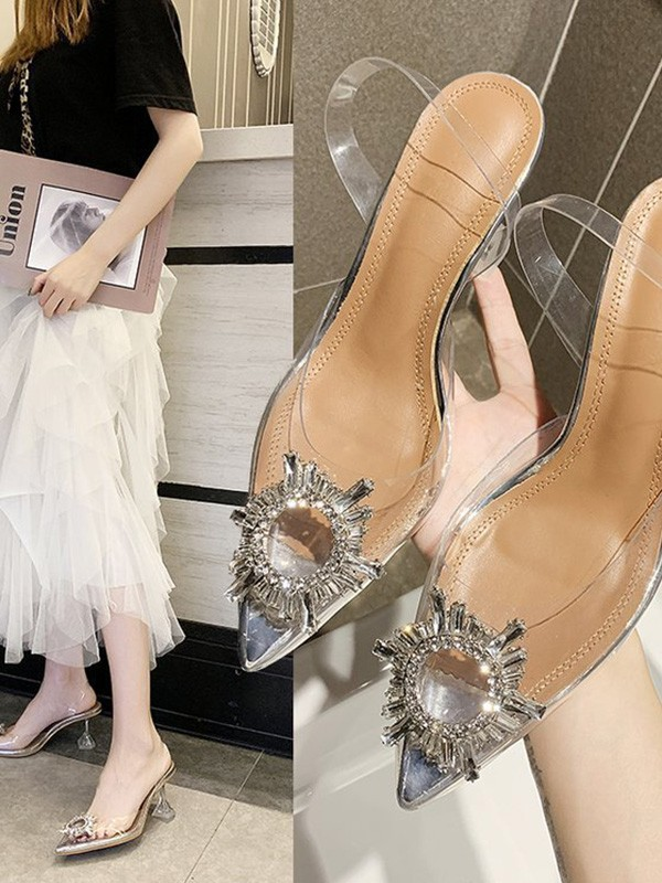 New Women Girls Rhinestone Kitten Heel Closed Toe Sandals