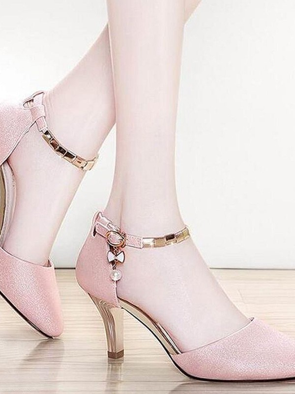 New Women Girls Leatherette Stiletto Heel Closed Toe Sandals