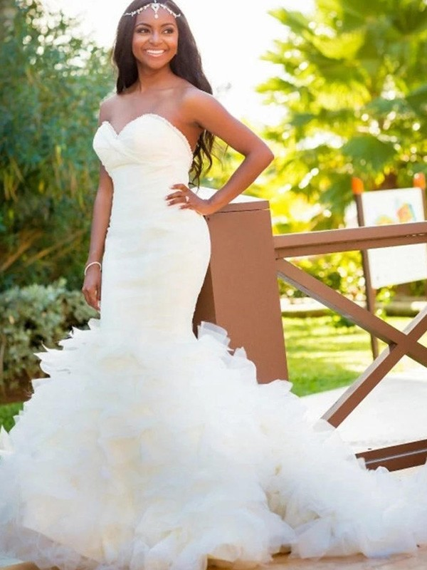 Gorgeous Mermaid Sleeveless Sweetheart Court Train Organza Wedding Dress